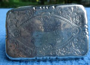 Antique Sterling Horticultural Lemington Leek Show Presentation Box 1897