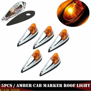 5x Truck Semi Trailer Amber Cab Marker Roof Top Clearance Light For Dodge Ram