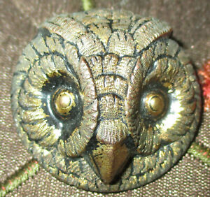 Antique Victorian Metal Button 2 Piece Brass Realistic Owl Head Face 1 1 8