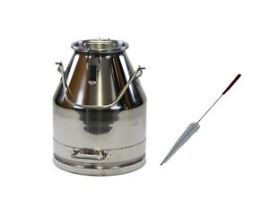 25lt 6 6gal Stainless Seel Milk Can Wine Pail Bucket Tote Jug With Lid And Brush