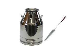 30lt 8 Gal Stainless Steel Milk Can Wine Pail Bucket Tote Jug W lid And Brush