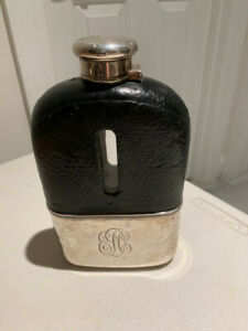 Antique Tiffany Co Sterling Silver Large Flask 8 Tall Monogram On Front