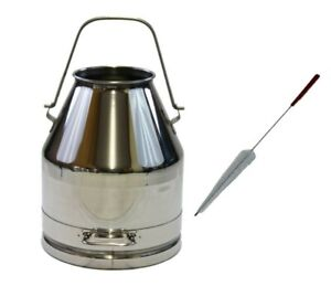 25lt 6 60 Stainless Steel Milk Can Wine Pail Bucket Tote Jug With Brush