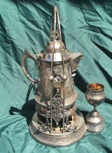 Antique Victorian Silverplate Plated Tilting Ice Water Pitcher On Stand Homan