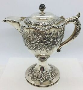 S Kirk Son Antique Sterling Silver Floral Repousse Milk Cream Pitcher