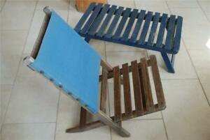 Vintage Folding Wood Canvas Beach Deck Chair Table Set Webster New York 1950s