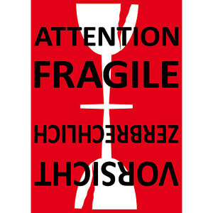Sticker 5 7 8in Sticker Attention Fragile Labels Glass Handle With Care Not Drop