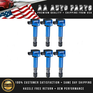 Blue Pack Of 6 Ignition Coils Uf400 For Honda Accord Civic Odyssey