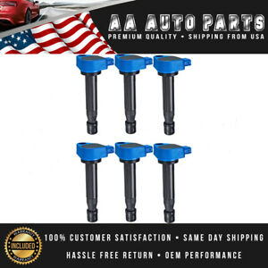 Pack Of 6 Blue Ignition Coil Uf242 For Acura Cl Acura El Mdx Rl Tl L4 v6