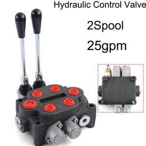 2 Spool 25 Gpm Hydraulic Directional Control Valve Tractor Loader W Joystick Us