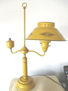 Vintage Mid Century Americana Mustard Yellow Tole Table Desk Library Lamp
