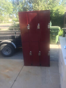 Metal Locker Cabinet 6 Compartments Steel Storage Coin Operated