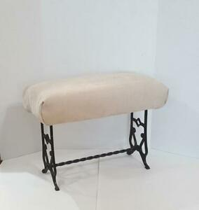 Antique Victorian Vanity Bench Foot Stool Cast Iron Beige Upholstery