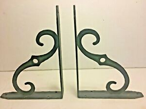 Pair 2 Vintage Black Hammered Wrought Iron Scroll Shelf Brackets 8 X 6 X 1