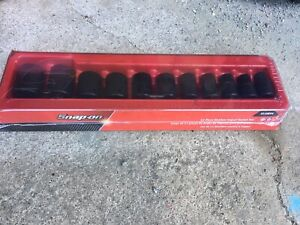 New Snap on 11 Piece 1 2 Drive 6 point Sae Shallow Impact Socket Set 311imya