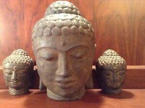 Antique 3 Piece Chinese Hand Carved Stone Quan Yin Buddha Heads