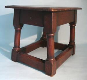 English Antique Oak Georgian Joint Stool Lovely Color