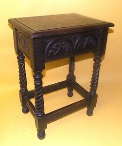 English Antique Oak Jacobean Box Stool Table Lift Up Top Carved Details