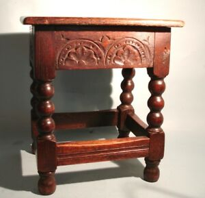 English Antique Oak Jacobean Joint Stool Well Carved Good Color