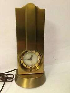 Vtg Movement By Sessions Brass Mantel Lamp Clock Mid Century Modern Mcm Desk