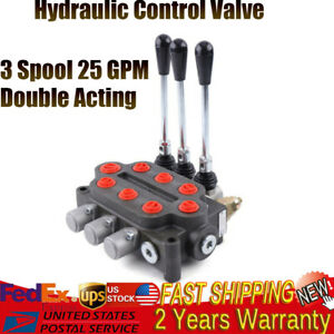 3 Spool 25 Gpm Hydraulic Valve Tractors Loaders Double Acting 3000psi Monoblock