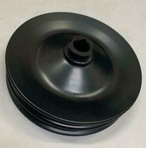 Chevy Gm 2 Double Groove Black Power Steering Pump Pulley Key Way Sbc Bbc 350