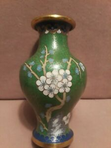 Vintage Chinese Cloisonne Small Vase 5 Tall