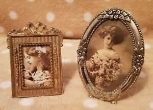 Two Antique Style Small Metal Picture Frames