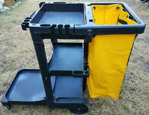 Rubbermaid Commercial Housekeeping Janitorial Utility Cart 3 Shelf Yellow Bag