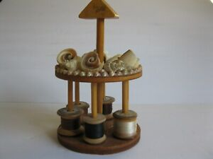 Antique Vintage Seashell Artwork Sewing Thread Spool Holder