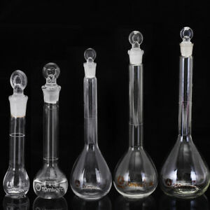 5 10 25 50 100 250ml Clear Glass Volumetric Flask With Stopper Lab Glassware