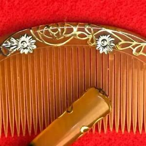 Japan Antique Combs 9x4 2cm And Kogai 15 5x1 3cm Gold Silver Wire Craft Works