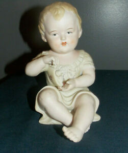 Sweet Antique German Bisque Porcelain Piano Baby Figurine 7 Tall 23 110