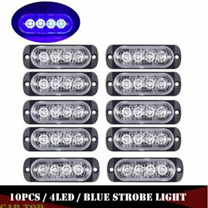10x Blue 4 led Strobe Warning Brake Lights Flashers Lamps For Truck Trailer Suv