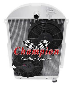 3 Row Al Radiator W 2 10 Fans For 1939 Chevy Ja Master Deluxe Chevy V8 Conv