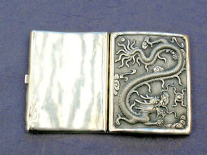 19th Century China Chinese Solid Silver Dragon Card Case Box