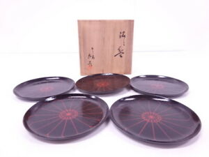 4272242 Japanese Tea Ceremony Lacquered Serving Plate Set Of 5 By Zohiko