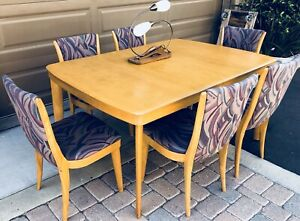 Mid Century Heywood Wakefield Dining Table 6 Chairs