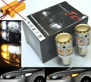 Canbus Led Switchback Light White Amber 2357 Two Bulb Front Turn Signal Drl Lamp