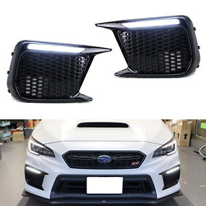 White Amber Sequential Switchback Led Drl Fog Bezels For 2018 Up Subaru Wrx Sti