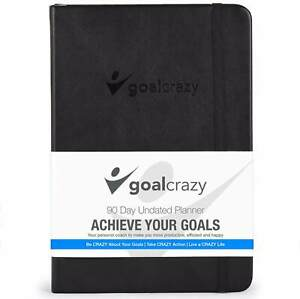 Goal Crazy 2019 Planner 90 Day Productivity Journal Black Leather Undated