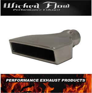 2 25 Inlet Flat Rectangle Exhaust Tip 2 X 7 5 Outlet 10 long Stainless Steel