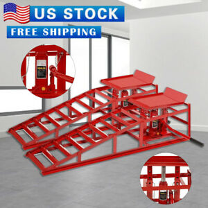 2x Red Auto Car Heavy Duty Hydraulic Lift Service Ramps Lifts Repair Frame New