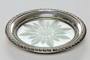 Vintage Sterling Frank M Whiting Co Glass Wine Coasters Set Of 4