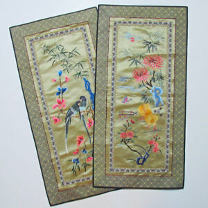 Chinese Silk Embroidered Birds Panel Tapestry Asian Vintage Set Of 2