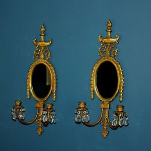 Pair Of Antique Bronze Candle Sconces With Crystals Mirrors