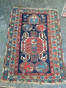 Antique 1890s Tribal Shirvan Kuba Caucasian Prayer Rug Kazak Very Rare 3 3x5