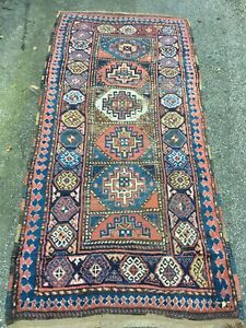 Antique 1890s Tribal Moghan Shirvan Kuba Caucasian Rug Kazak Very Rare 45x93