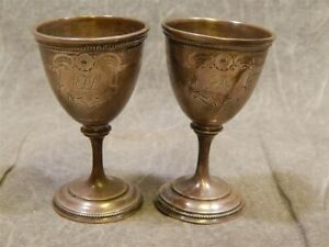 Pair Of Miniature Coin Silver Or Sterling Goblets Circa 1850 S Or Earlier