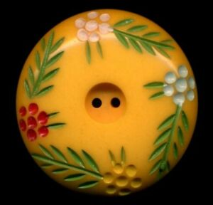 Vintage Button Large Bakelite With Colorful Painted Flowers